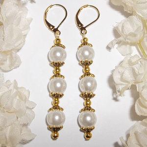 Long Gold & White Pearl Earrings Stylish NWT 4903
